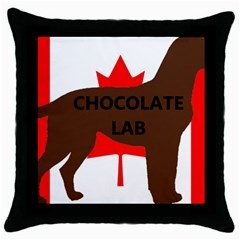 Chocolate Labrador Retriever Name Silo Canadian Flag Throw Pillow Case (Black)