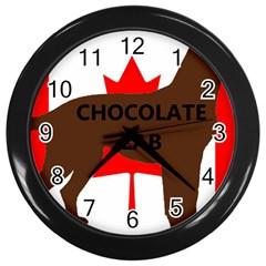 Chocolate Labrador Retriever Name Silo Canadian Flag Wall Clocks (Black)