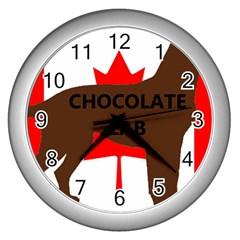 Chocolate Labrador Retriever Name Silo Canadian Flag Wall Clocks (Silver)