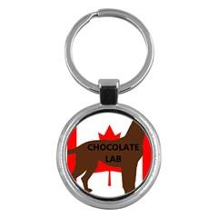 Chocolate Labrador Retriever Name Silo Canadian Flag Key Chains (Round)