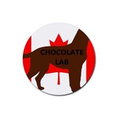 Chocolate Labrador Retriever Name Silo Canadian Flag Rubber Coaster (Round)
