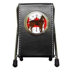 Chocolate Labrador Retriever Name Silo Canadian Flag Pen Holder Desk Clocks