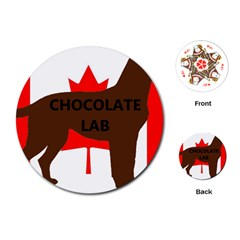 Chocolate Labrador Retriever Name Silo Canadian Flag Playing Cards (Round)