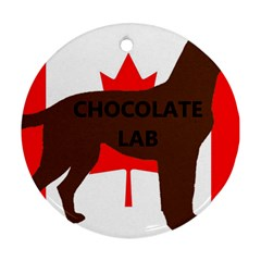 Chocolate Labrador Retriever Name Silo Canadian Flag Round Ornament (Two Sides)