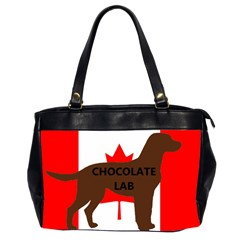 Chocolate Labrador Retriever Name Silo Canadian Flag Office Handbags (2 Sides)
