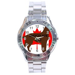 Chocolate Labrador Retriever Name Silo Canadian Flag Stainless Steel Analogue Watch