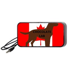 Chocolate Labrador Retriever Name Silo Canadian Flag Portable Speaker (Black)