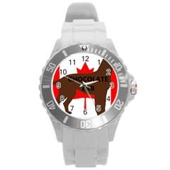 Chocolate Labrador Retriever Name Silo Canadian Flag Round Plastic Sport Watch (L)