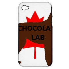 Chocolate Labrador Retriever Name Silo Canadian Flag Apple iPhone 4/4S Hardshell Case (PC+Silicone)