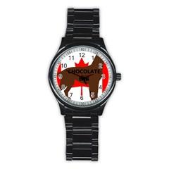 Chocolate Labrador Retriever Name Silo Canadian Flag Stainless Steel Round Watch