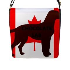 Chocolate Labrador Retriever Name Silo Canadian Flag Flap Messenger Bag (L)