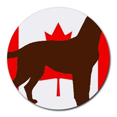 Chocolate Labrador Retriever Silo Canadian Flag Round Mousepads