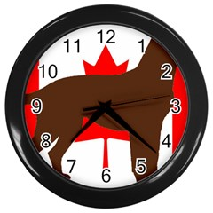Chocolate Labrador Retriever Silo Canadian Flag Wall Clocks (Black)