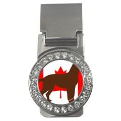 Chocolate Labrador Retriever Silo Canadian Flag Money Clips (CZ)