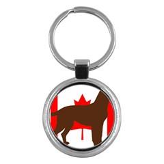 Chocolate Labrador Retriever Silo Canadian Flag Key Chains (Round)