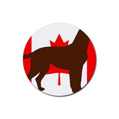 Chocolate Labrador Retriever Silo Canadian Flag Rubber Coaster (Round)