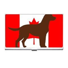Chocolate Labrador Retriever Silo Canadian Flag Business Card Holders