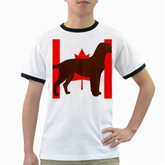 Chocolate Labrador Retriever Silo Canadian Flag Ringer T-Shirts