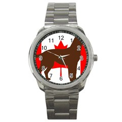 Chocolate Labrador Retriever Silo Canadian Flag Sport Metal Watch