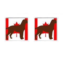 Chocolate Labrador Retriever Silo Canadian Flag Cufflinks (Square)