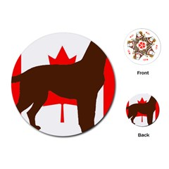Chocolate Labrador Retriever Silo Canadian Flag Playing Cards (Round)