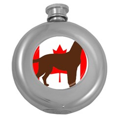 Chocolate Labrador Retriever Silo Canadian Flag Round Hip Flask (5 oz)