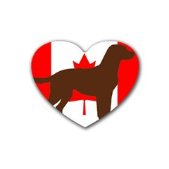 Chocolate Labrador Retriever Silo Canadian Flag Rubber Coaster (Heart)
