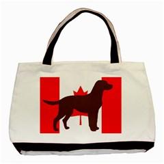 Chocolate Labrador Retriever Silo Canadian Flag Basic Tote Bag (Two Sides)