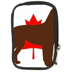Chocolate Labrador Retriever Silo Canadian Flag Compact Camera Cases