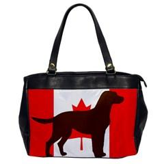 Chocolate Labrador Retriever Silo Canadian Flag Office Handbags