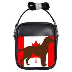 Chocolate Labrador Retriever Silo Canadian Flag Girls Sling Bags