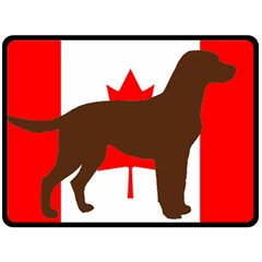 Chocolate Labrador Retriever Silo Canadian Flag Fleece Blanket (Large)