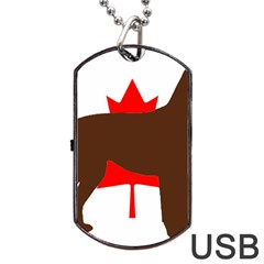 Chocolate Labrador Retriever Silo Canadian Flag Dog Tag USB Flash (Two Sides)