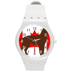 Chocolate Labrador Retriever Silo Canadian Flag Round Plastic Sport Watch (M)