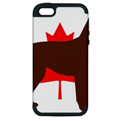 Chocolate Labrador Retriever Silo Canadian Flag Apple iPhone 5 Hardshell Case (PC+Silicone)