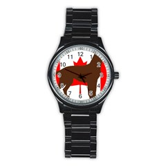 Chocolate Labrador Retriever Silo Canadian Flag Stainless Steel Round Watch