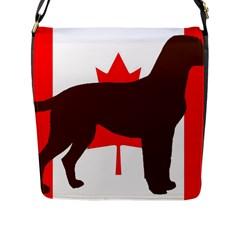 Chocolate Labrador Retriever Silo Canadian Flag Flap Messenger Bag (L)