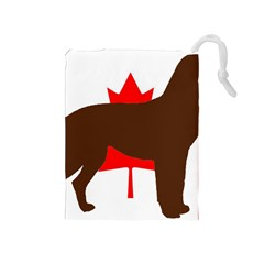 Chocolate Labrador Retriever Silo Canadian Flag Drawstring Pouches (Medium)