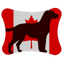 Chocolate Labrador Retriever Silo Canadian Flag Jigsaw Puzzle Photo Stand (Bow)