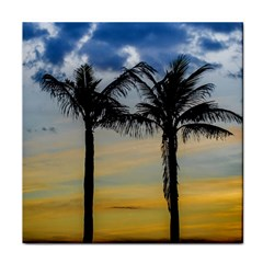 Palm Trees Against Sunset Sky Tile Coasters