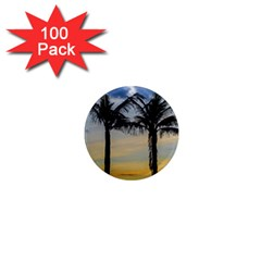 Palm Trees Against Sunset Sky 1  Mini Magnets (100 pack)