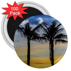 Palm Trees Against Sunset Sky 3  Magnets (100 pack)