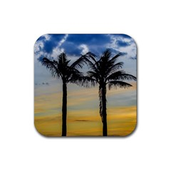 Palm Trees Against Sunset Sky Rubber Square Coaster (4 pack)