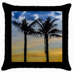 Palm Trees Against Sunset Sky Throw Pillow Case (Black)