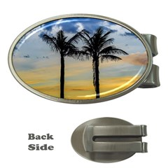 Palm Trees Against Sunset Sky Money Clips (Oval)