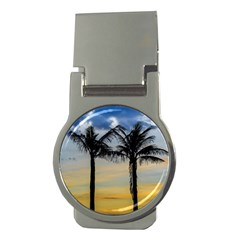 Palm Trees Against Sunset Sky Money Clips (Round)