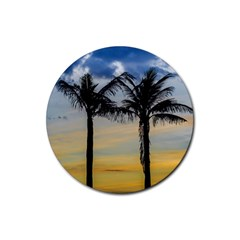Palm Trees Against Sunset Sky Rubber Round Coaster (4 pack)