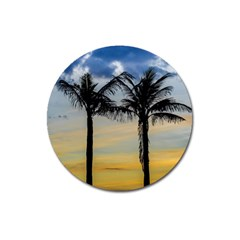 Palm Trees Against Sunset Sky Magnet 3  (Round)