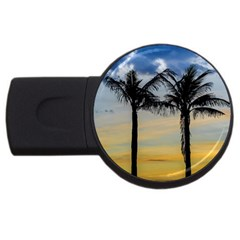 Palm Trees Against Sunset Sky USB Flash Drive Round (1 GB)