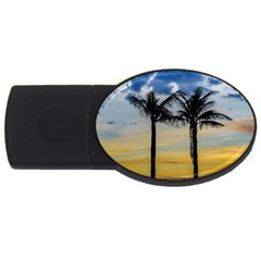 Palm Trees Against Sunset Sky USB Flash Drive Oval (2 GB)